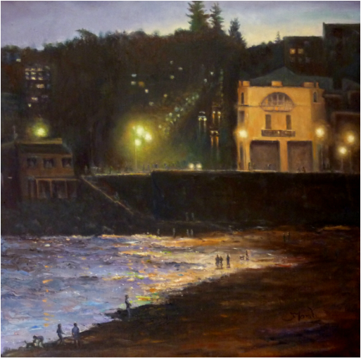 coogee beach sydney ion the evening. an oil painting by Fred Marsh