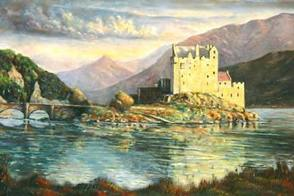 eilean donasn castle oil painting by fred marsh