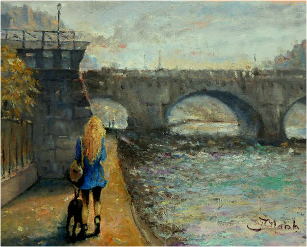 Pont Neuf Paris, France oil painting of girl  walking her dog by fred marsh