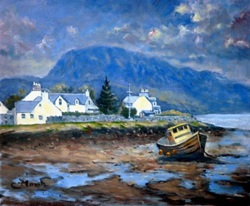 Plockton at low tide, scotland oil painting by fred marsh