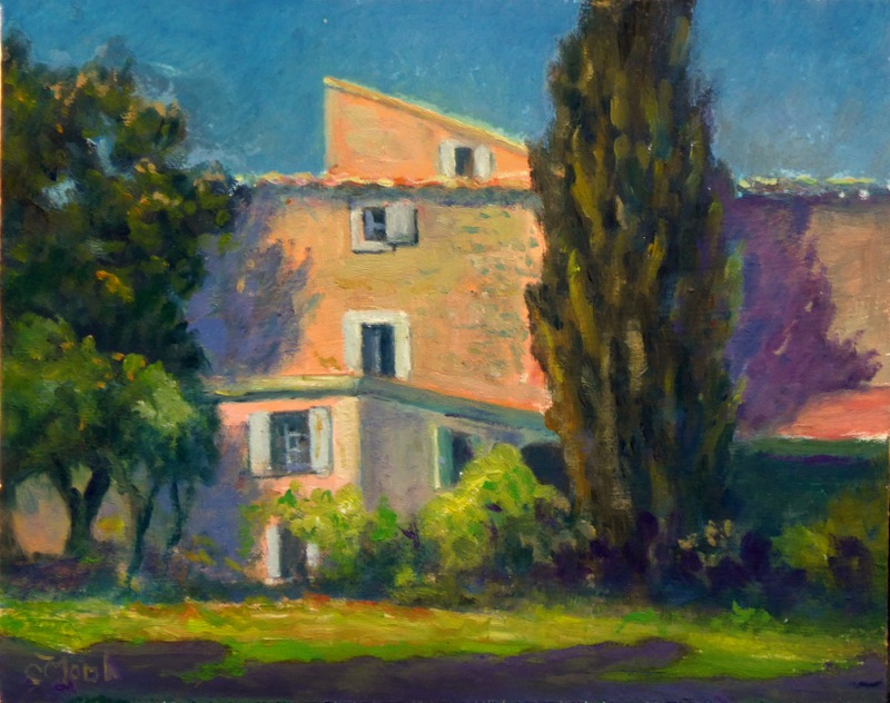 Painting of La Madelene from the rear, Provence, France