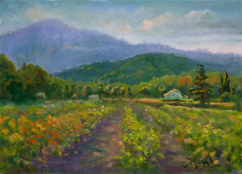 Painting of Vineyards near Malaucene Provence  France