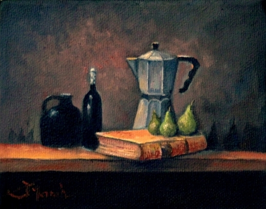 Still Life Painting of paintbrushes, oranges, grapes and vase.