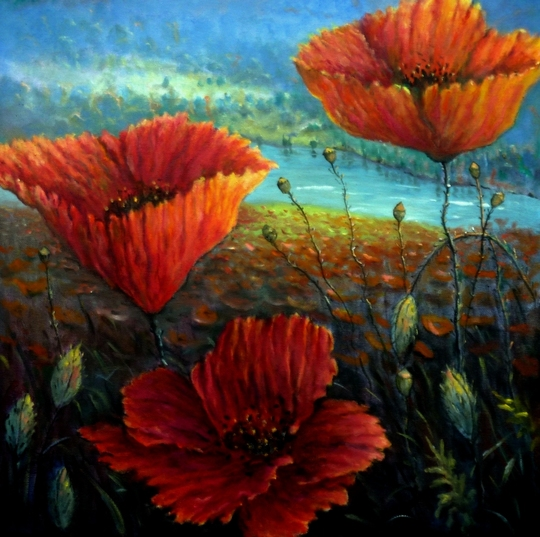 Painting Poppy field provence france
