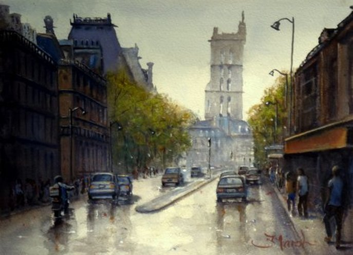 Watercolour Painting Tour Saint Jacques, Paris, France