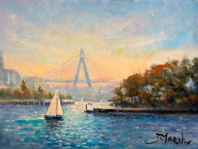 Anzac bridge from barangaroo sydney