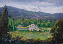 Oil Painting Looking from the back of La Madelene, Provence, France