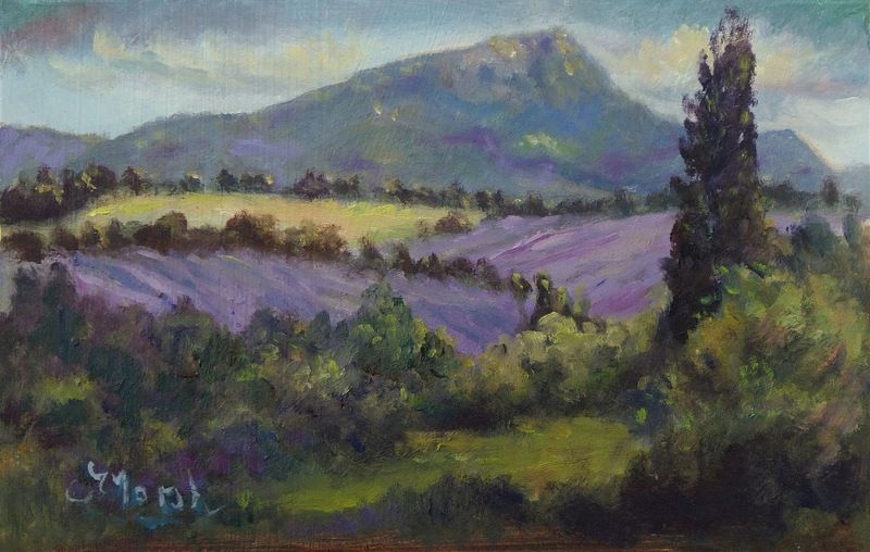 Oil Painting Lavender Fields near Sault, & Mount Ventoux in the distance, Provence, France