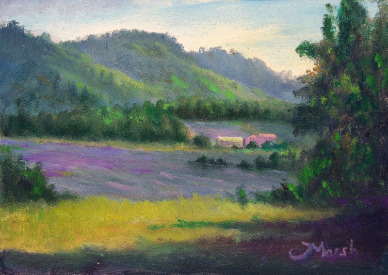 Painting Lavender Fields at Les Michouilles-between Sault & Aurel, Provence, France