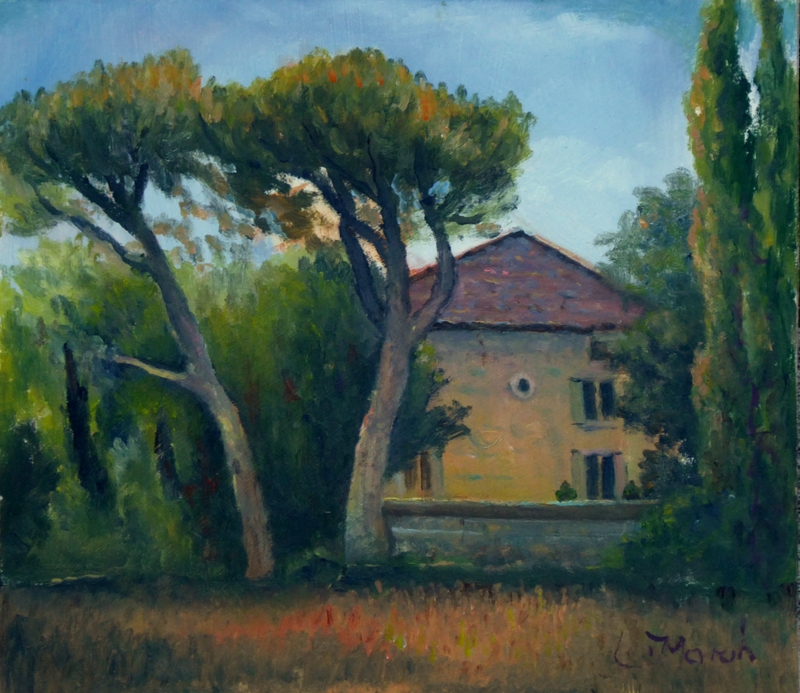 Painting Wheatfield at the front of La Madelene, Provence France