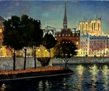 Notre dame paris france painting