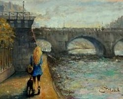 pont neuf paris, france  painting