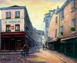 Rue Norvins montmartre, paris france Original painting