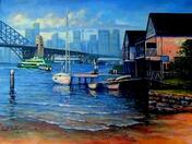 Painting Lavender Bay Boathouse, Sydney Australia