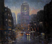 rain and reflections railway square sydney painting