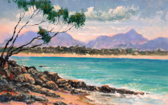 looking north wategos beach byron bay, original painting