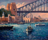 Painting of Lavender Bay and luna park sydney
