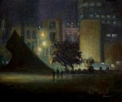 The domain sydney at night oil painting by fred marsh