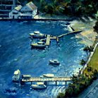 Looking down on Lavender Bay Sydney Australia. Painting by Fred Marsh