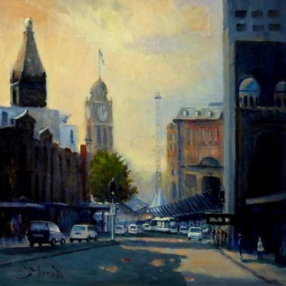 shadows railway square painting sydney cityscape